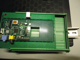 DINpi carrier board mounted onto DIN rail frame