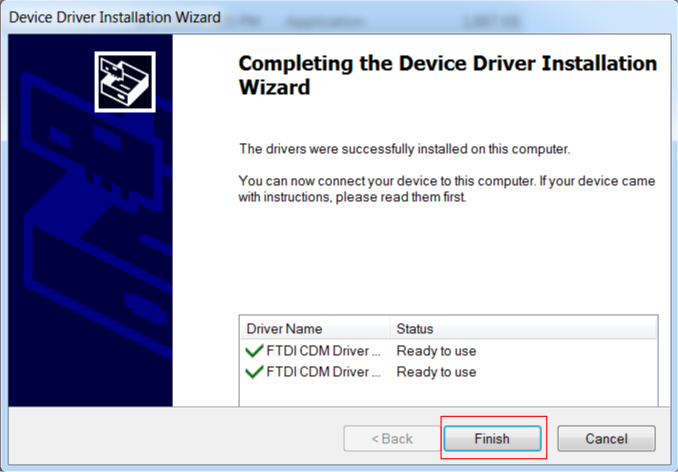 Figure-4: FTDI Driver installation successful