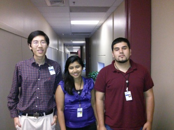 Group Picture. Starting from left Sheng Zhao, Amulya Kattimani, Edwin Flores