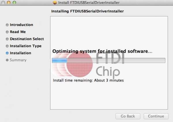 Figure-4: FTDI driver installation in progress
